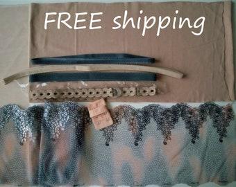 DIY BRA Kit Beige & Led Embroidery Lace FREE shipping by Merckwaerdigh