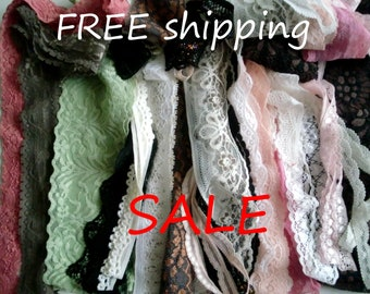 SUPERSALE 20 Types Narrow STRETCH Scalloped Lace for Lingerie & Tops FREE Shipping by Merckwaerdigh