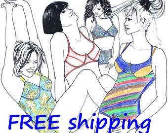 Sewing Pattern BHB40 for Bras Body Swimsuit : FREE Shipping by Merckwaerdigh