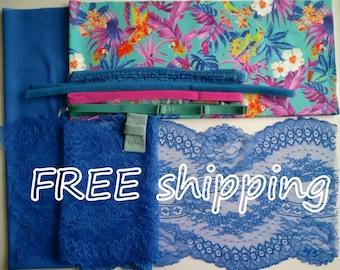 BRA Kit Colorfull PARROTS & Cobalt Lace FREE Shipping by Merckwaerdigh