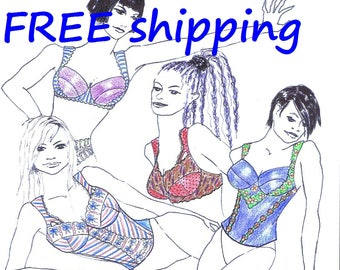 BRA Pattern CUPL16 for E F G Large Cup Bra & Bustier : FREE Shipping by Merckwaerdigh