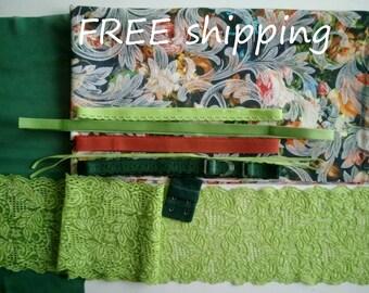 BRA Kit Winterlycra Multicolor Flowers & Lime Lace FREE Shipping by Merckwaerdigh