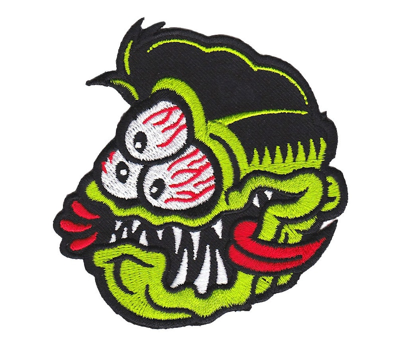 3-Eyed Fink Patch  Lowbrow Art Monster Embroidered Patch image 0