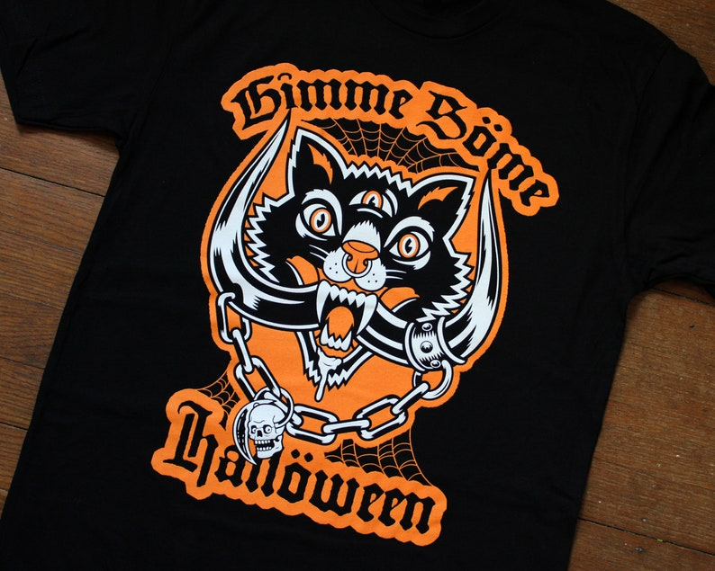 Gimme Some Halloween T-Shirt Vintage Black Cat / Motorhead image 0