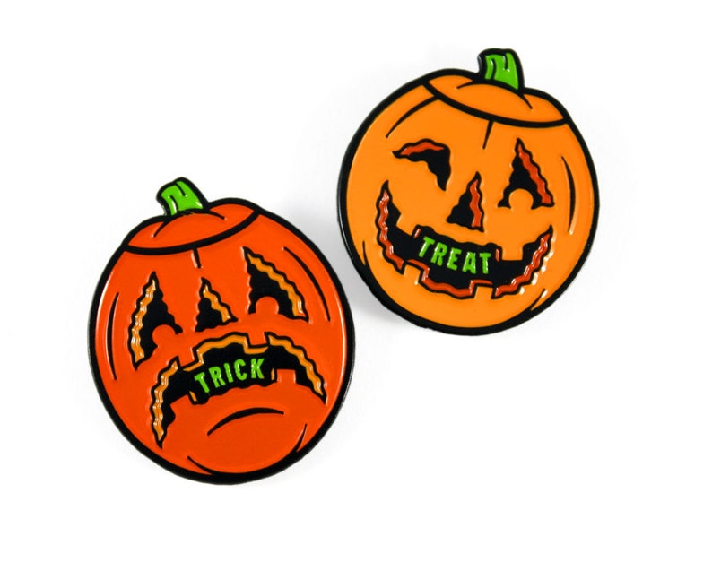 Trick or Treat Jack-O-Lanterns Enamel Pin Set  Halloween image 0