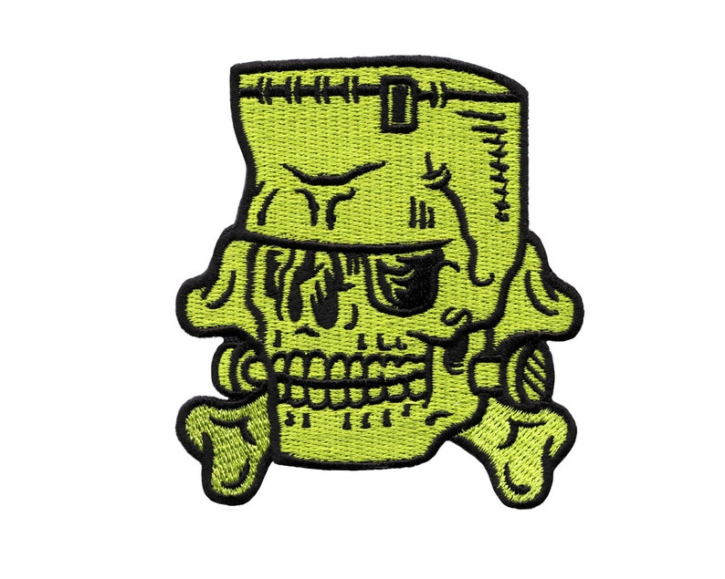 Frankenstein Patch  Monster Skull Embroidered Patch image 0
