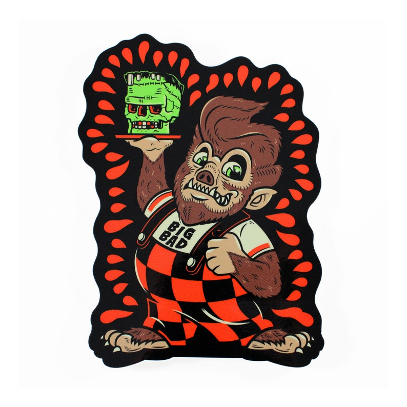 Big Bad Big Boy Wolfman Vinyl Sticker FREE SHIPPING image 0