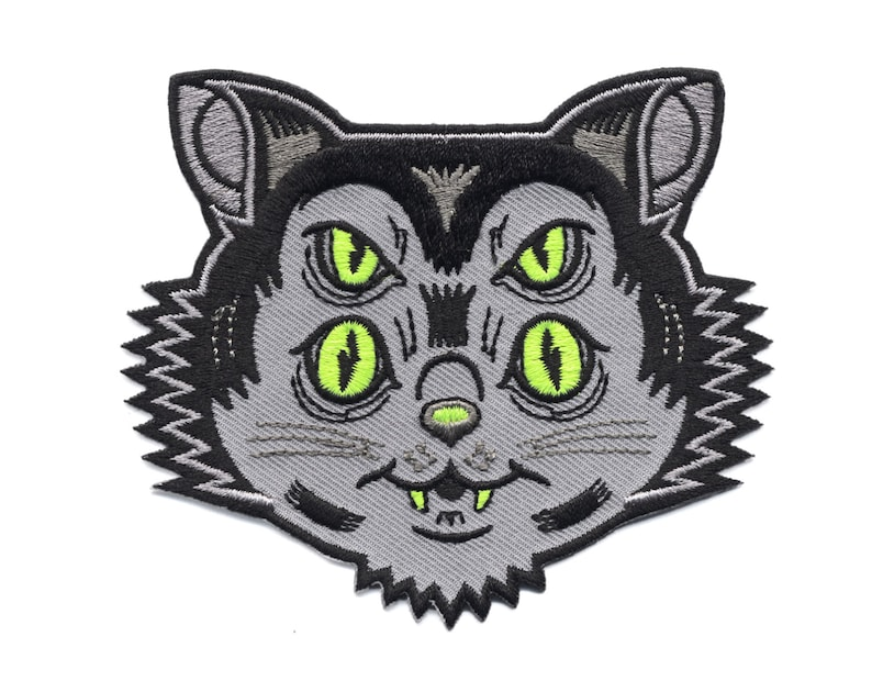 Dayglo Cat Scuzzball Patch  Weirdo Kitty Embroidered Patch image 0