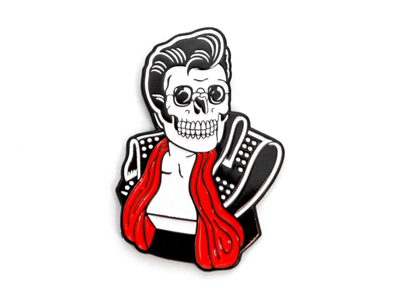 Hellvis Enamel Pin  1.5 Lapel Pin Elvis Rockabilly image 0