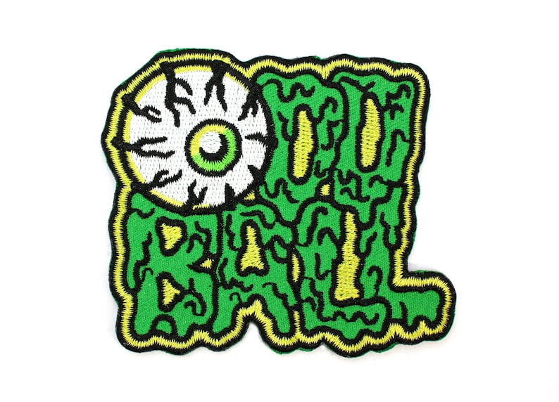 Oddball Eyeball Patch  Lowbrow Art Weird Slime Typography image 0