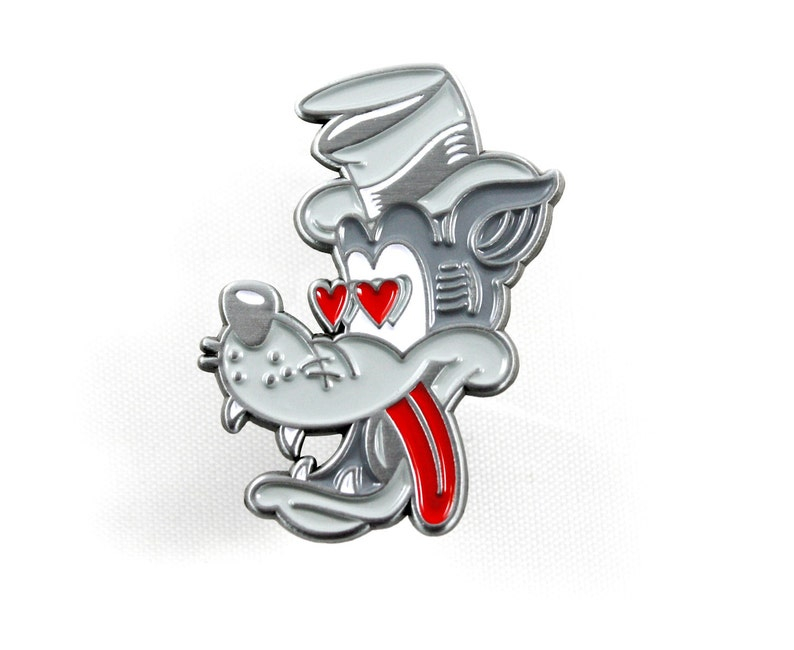 TAIL CHASER Enamel Pin  1.5 Retro Wolf Cartoon Soft image 0