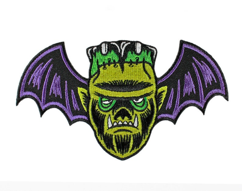 Monster Mash Embroidered Patch  Wolfman Vampire image 0