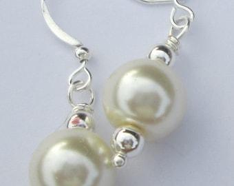 Pierced Earrings White Pearl beads pierced dangle Wedding Jewelry handmade earrings Bridesmaid Accessory Gift For Her by Ziporgiabella