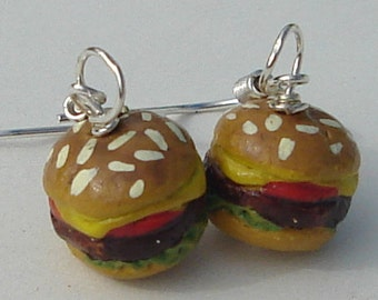 Pierced Earrings Minimalist Cheeseburger Food Earrings petite ceramic cheeseburgers pierced dangle hand made Food Accessory earrings