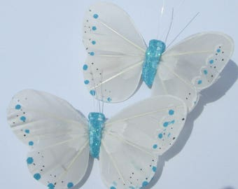 Butterfly Hair Clips White Blue feather butterfly Blue and White Butterfly Accessory handmade hair clip by Ziporgiabella
