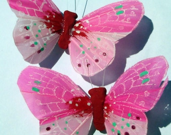 Butterfly Hair Clip SOLD INDIVIDUALLY Pink feather butterfly Pink Butterflies handmade hair clips by Ziporgiabella Butterfly Accessories
