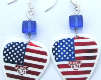 American Flag Earrings guitar pick pierced handmade Patriotic music lovers USA accessory earrings by Ziporgiabella