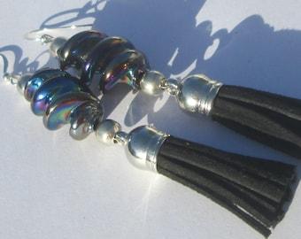 Pierced Earrings Twist Spiral Glass Black Orchid tassel hand made Black Orchid Glass earrings by Ziporgiabella