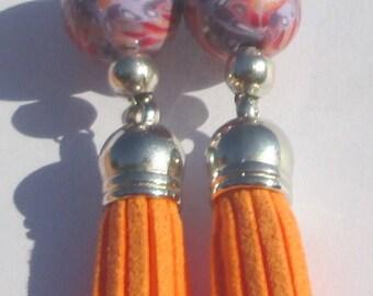 Pierced Earrings Orange Tassel Dangle handmade Orange Tassel earrings Tassel Gift For Her Jewelry Accessory Earrings by Ziporgiabella