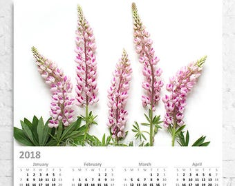 Wall calendar 2018 Pink lupines - Large size wall poster with wildflowers - Flower calendar - Botanical floral art - Home decor