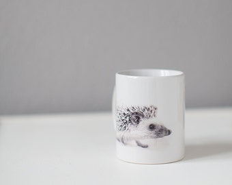 Hedgehog mug Cool cup with baby hedgehog Tiny African hedgehog gift from woodland Hedgehog gift White cup Valentine's Day gift