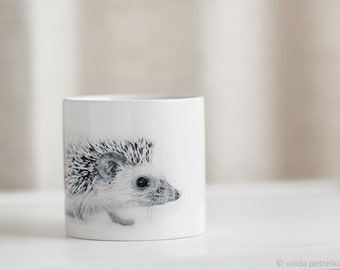 Hedgehog cup Cool cup Small coffee cup with baby hedgehog Tiny African hedgehog Baby gift from woodland Hedgehog gift White cup for children