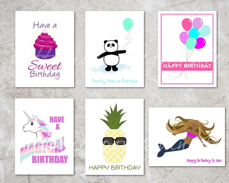 photograph regarding Printable Kids Birthday Cards known as 6 Printable Birthday Playing cards for Females Various Young children Birthday Card Fixed