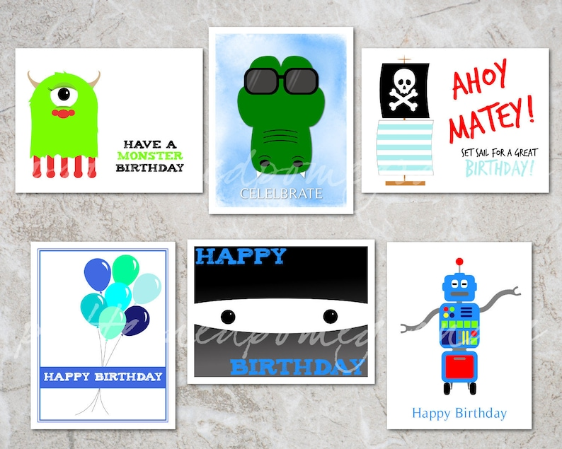 photograph relating to Printable Birthday Cards for Kids identified as 6 Printable Birthday Playing cards for Boys Varied Small children Birthday Card Preset  Printable Present Tags Ninja, Robotic, Crocodile, Pirate, Monster