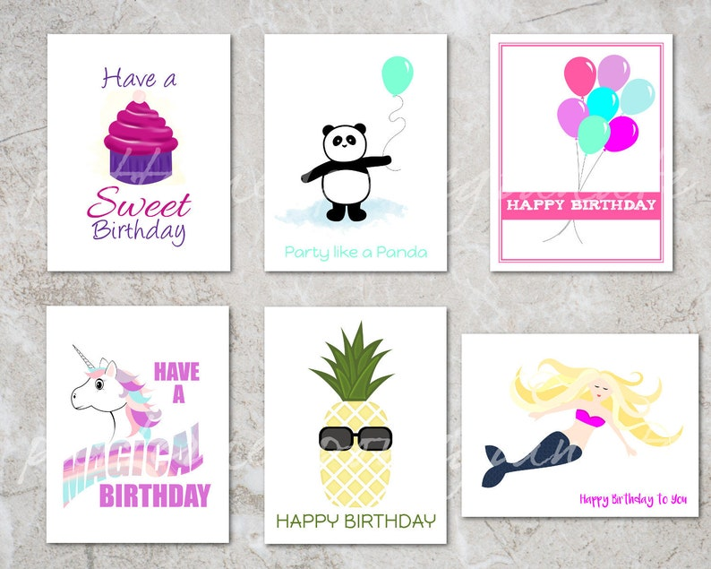 picture about Printable Birthday Cards for Kids identify 6 Ladies Printable Birthday Card Fixed Different Young children Printable Reward Tags  Mermaid, Unicorn, Panda, Cupcake, Pineapple