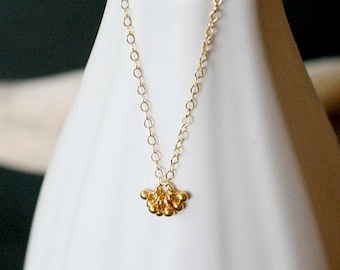 """tiny gold necklace, gold filled necklace, tiny charm necklace, dainty layering necklace for her, teeny tiny gold necklace, """"pelota"""" necklace"""