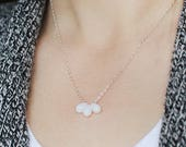 just the beginning - pure white teardrop necklace - modern minimalist jewelry, simple sterling silver necklace, white beaded necklace