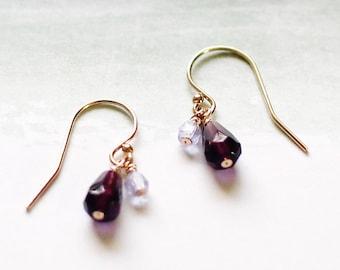 yael - purple teardrop earrings