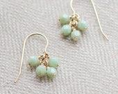 """14k goldfill earrings - """"lucky"""" faceted earrings in celadon green - handmade by elephantine"""