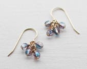 lucky earrings in blue and purple - faceted bead earrings, translucent earrings, dainty jewelry, 14k goldfill or sterling silver