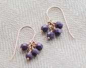 "14k goldfill earrings - ""lucky"" faceted earrings in plum - handmade by elephantine"