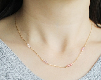 felicity - multicolor bead gold necklace - handmade jewelry