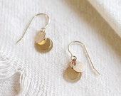 dolce earrings - 14k gold filled disc earrings - classic earrings - gold coin dangle earrings - gold circle earrings - dainty gift for her