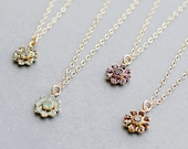 """flower necklace, pretty dainty necklace, floral jewelry, bridesmaid jewelry, flower girl necklace, gold pendant necklace, """"floret"""" necklace"""