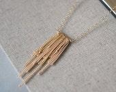 l'amour necklace - boho 14k goldfill fringe handmade necklace - layered gold jewelry