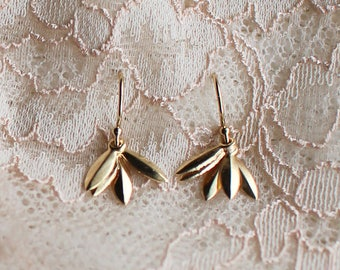 "gold earrings - everyday jewelry - modern dainty layered - ""lily"" earrings, handmade by elephantine"