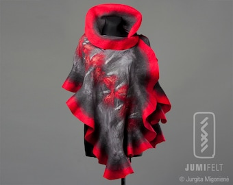 Felt Scarf - Wavy ruffled Shawl - Red and grey classic color combination - Handmade wool and silk