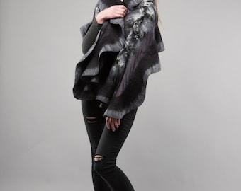 Grey shadows Grey and Black Felted scarf wavy ruffled shawl Handmade Silk wool