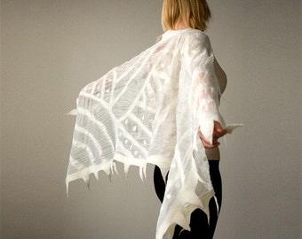 Elegant White nuno felted shawl - scarf - Handmade silk and wool - Special Occasion