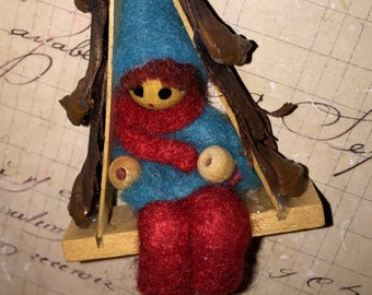 Vintage Spun Wool Christmas Ornament