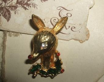 Vintage Deer Holiday Brooch