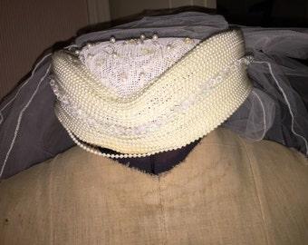 Vintage Beaded Wedding Cap and Veil