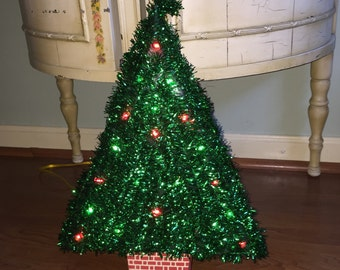 Vintage Lighted Hanging Christmas Tree