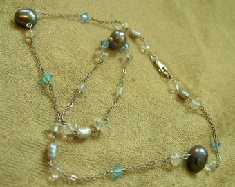 Water Nymph Necklace. FRESHWATER black and silver PEARLS, AQUAMARINE, SWAROVSKI, and STERLING SILVER