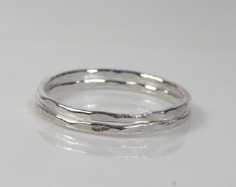 Silver stacking rings set, minimalist ring, skinny ring, hammered silver ring