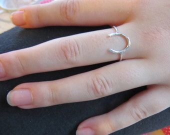 Silver horseshoe ring, equestrian jewelry, good luck ring, horse lover gifts